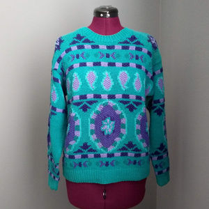 Vintage Teal & Purple Hand Knitted Sweater